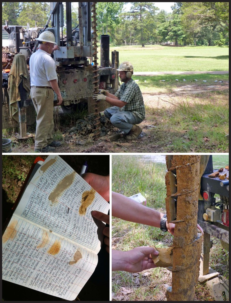 Photos from the drill site at the Crater, Petersburg National Battlefield.  Upper: Rick Berquist (left) and Lee Bristow (right) operating the drill, the Crater is in the background ~400' (120 m) to the north of the drill site.  Lower Left: Field notes from the drilling operation, sediment dabs in the field book make for an excellent and colorful record that supplements later analysis. Lower Right: Geologist's greedy hands pry sediment off the drill stem, note the cohesive nature of the sediment on the auger.