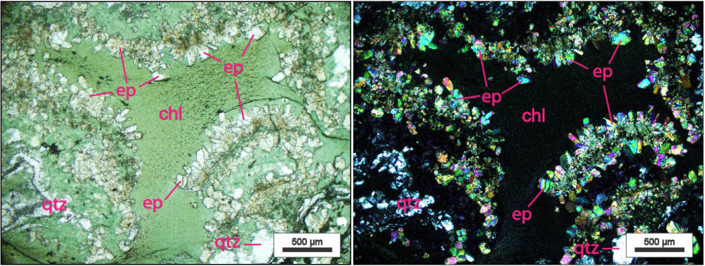 Plane polarized (left) and Crossed polarized view of amygdule in hyaloclastic greenstone from the Catoctin Formation, eastern Blue Ridge, Virginia.