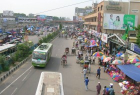 View of a roadside market.