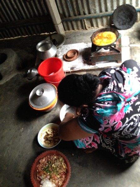 A woman cooking with an efficient methane stove.
