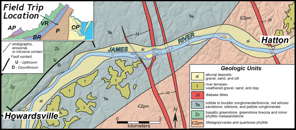 Simplified geologic map of the James River between Howardsville and Hatton, central Virginia.