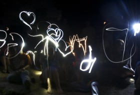 The freaks come out at night. Geology students sending messages in the dark of night.