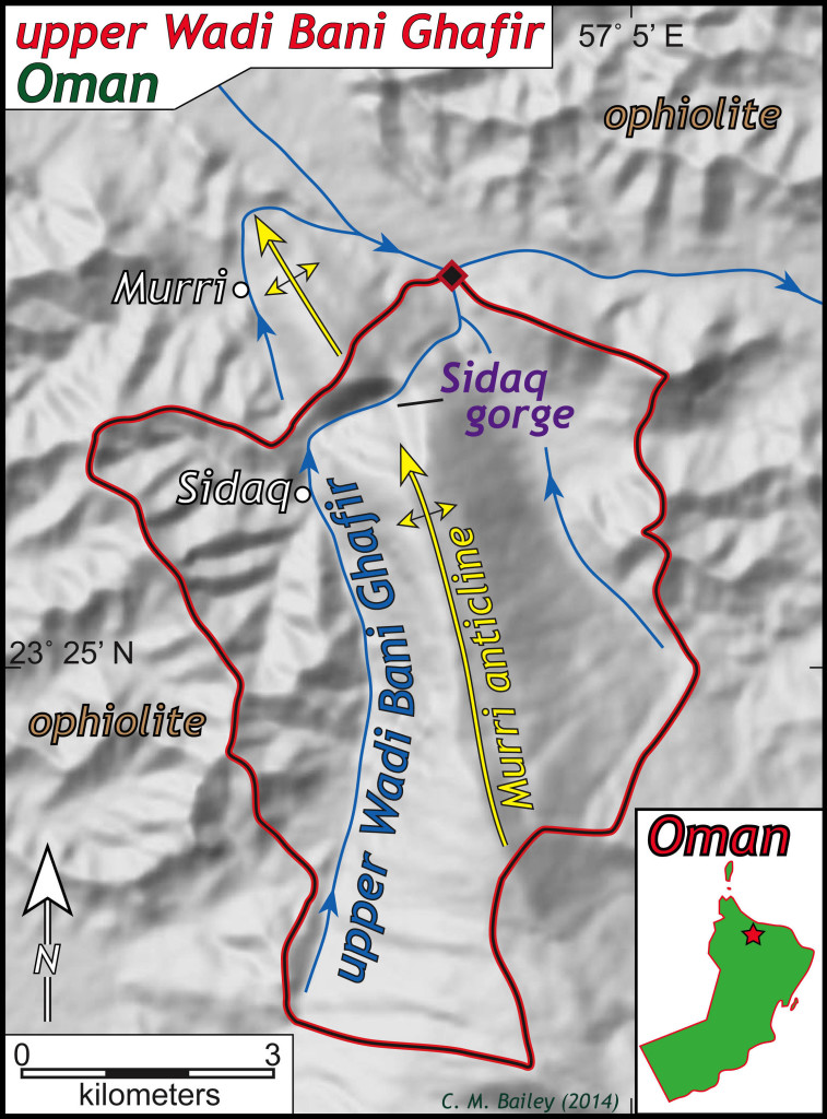 Map illustrating the upper reaches of Wadi Bani Ghafir and the Sidaq gorge, Oman.  Bold red and black line outlines the drainage basin above the diamond.