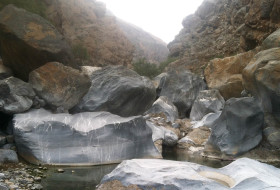 Huge limestone boulders (3 to 6 m) in the bed of Wadi Bani Ghafir in the Sidaq gorge. Photo by T. A. Johnson.