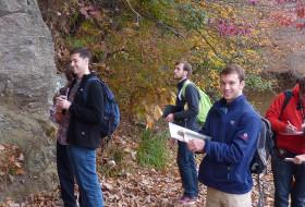 Team Ivy Creek confronts an outcrop.