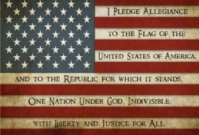 Pledge of Allegiance written not the flag