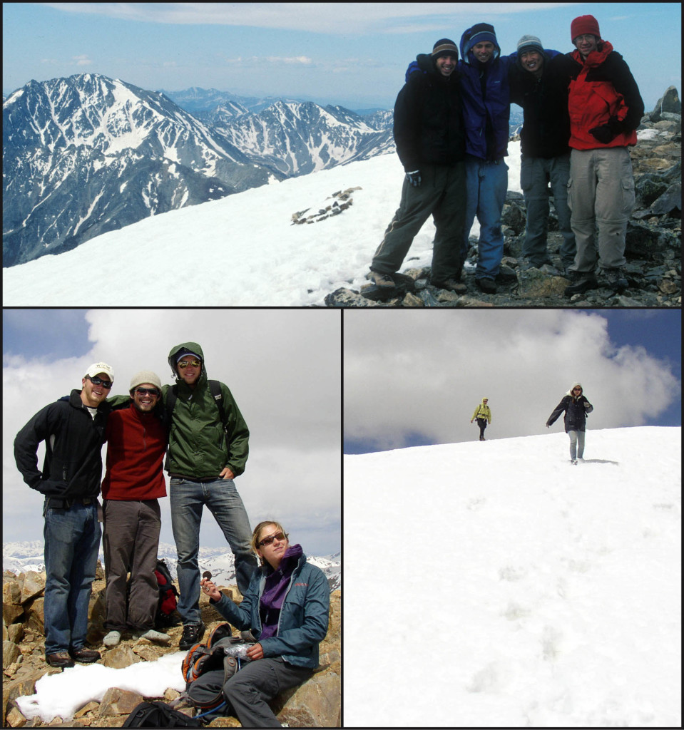 Rocky Mountain high in Colorado, William & Mary geologists at Mount Elbert. Top: Chris Koteas, Twohy Murray, Brian Hasty, and Chris Coppinger (from left to right) huddled up on the summit in 2002.  Lower Left: Brendan Murphy, a shoeless Trevor Buckley, Drew Laskowski and Autumn Millslagle (from left to right) on the summit in 2008.  Lower Right: Ali Snell and Beth DeGiorgis descending a snowfield near the summit.