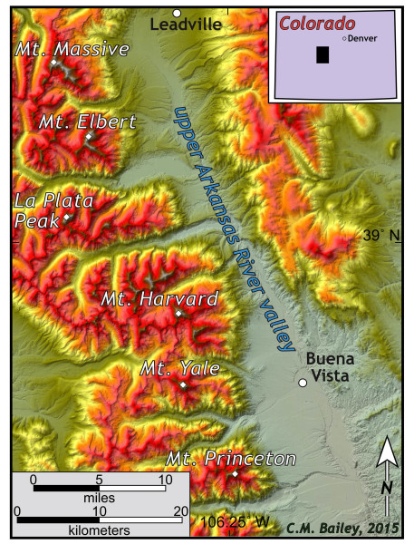 Shaded relief map of the Swatch Range, Collegiate Peaks area, and the upper Arkansas River valley, central Colorado.
