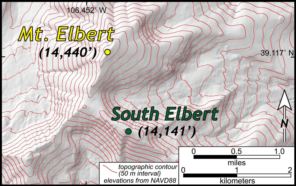 Topographic map of Mount Elbert, Colorado (from the National Elevation Database).