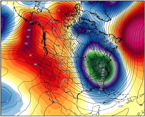 Mid-level pressure charter for North America, note intense cold and deep trough in the east. (weatherbell.com, reposted from: http://www.washingtonpost.com/blogs/capital-weather-gang/wp/2015/02/19/arctic-outbreak-shatters-records-in-eastern-u-s-coldest-yet-to-come/)