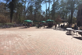 the terrace in front of Sadler in the spring time
