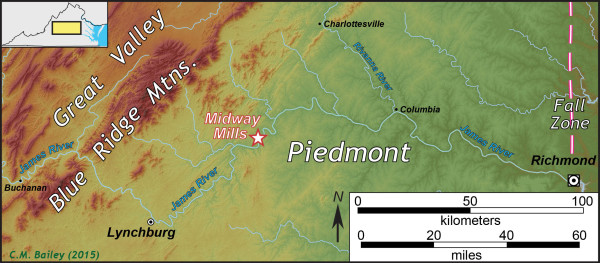 Map of the James River basin in central Virginia.  Note Midway Mills is not midway between Richmond and Lynchburg.