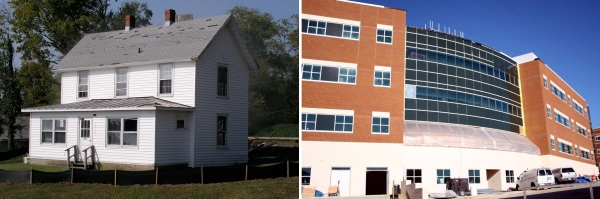 VIMS's Reeds House, right, was demolished to make place for Andrews Hall, completed in 2007.
