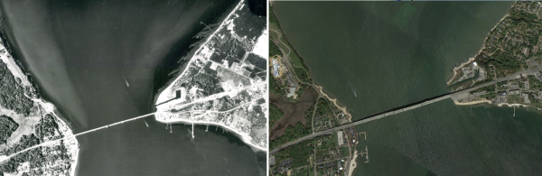 Aerial comparison of Gloucester Point, 1959 and 2013. The breakwaters, and their preservation of the shoreline, are clearly visible in the upper right.