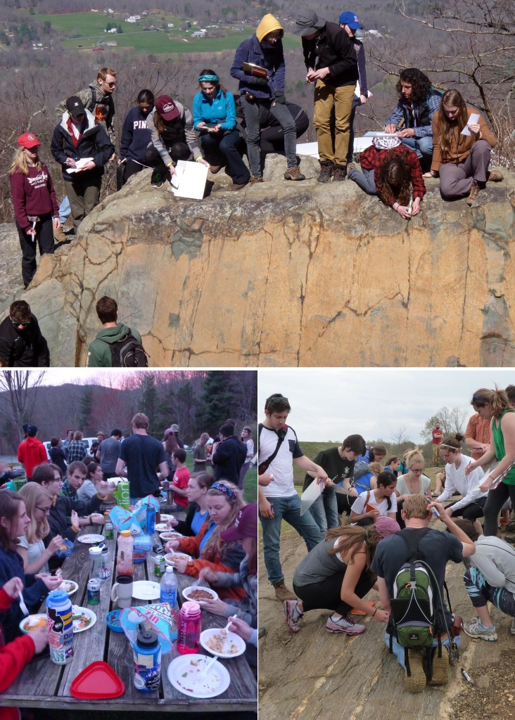 Scenes from the field. Top: Measuring geologic structures at the Greenstone Overlook, Blue Ridge Parkway. Bottom Left: Chow time in camp. Bottom Right: Puzzling over the Piedmont at Hidden Rock Park.