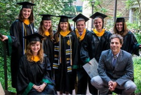 A winsome group- the 2015 W&M Structure & Tectonics research group.  Clockwise from lower left: Anna Spears, Ciara Mills, Kelsey Watson, Megan Flansburg, Brady Coleman, Matthew Sniff, Heather Cameron, and Ol' Man Bailey. Photo by Pablo Yañez.