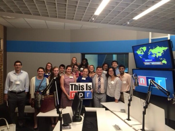 The New Media Institute visited NPR's DC headquarters. (We saw the studio where Serial is recorded) Photo posted by Catherine Korizno.