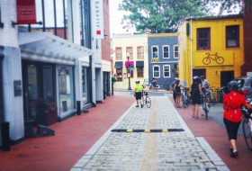 A Georgetown sidestreet (clearly biking is a popular weekend activity). Photo by Madeline Bielski