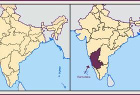 a Map of India with Goa shaded on the left and Karnataka shaded on the right