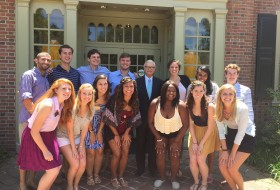 2015 Senior Admission Interviewers take a quick pic with President Reveley