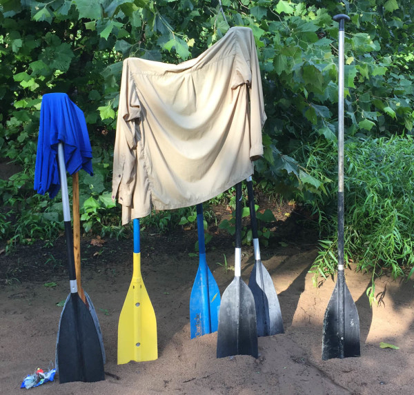 Paddles serving as drying rack for our weak clothes on the Rivanna River.