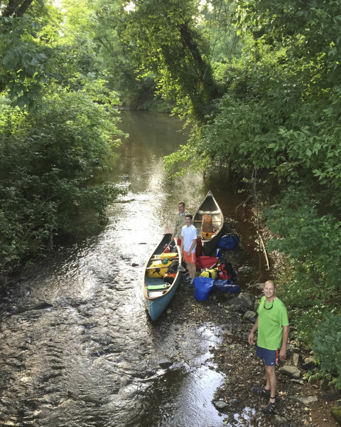 The put-in at the confluence of Albemarle County's Lickinghole Creek and Mechums River. From front to back Scott Harris, Stuart Beach, and Todd Beach.
