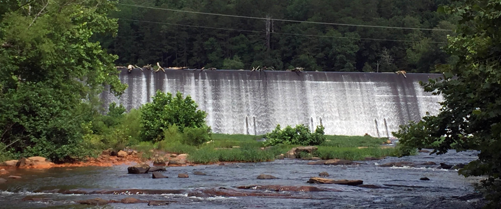 The Rivanna Dam and the free flowing river downstream.  The portage of this dam was unpleasant.
