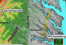 a map of the Piedmont and coastal plain of Virginia from Charlottesville to Williamsburg