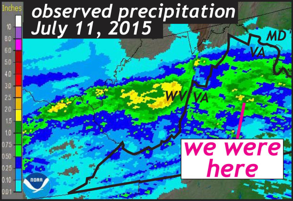"Map of the National Weather Service's observed precipitation (based on radar data) for Saturday, July 11th 2015.  The Rivanna River basin in central Virginia received between 2 and 6 cm (0.75 – 2.25"") of precipitation."
