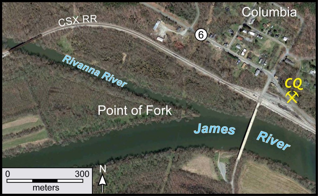 The confluence of the Rivanna and James rivers in the central Virginia Piedmont (from Google Earth).