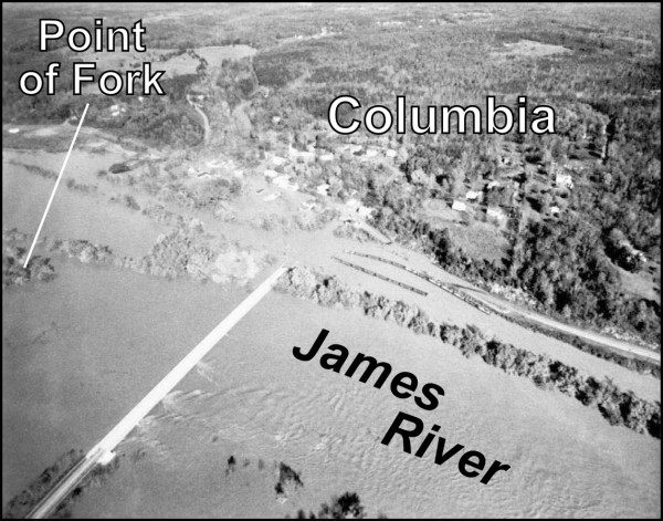 Aerial view of a flooded James River at Columbia.