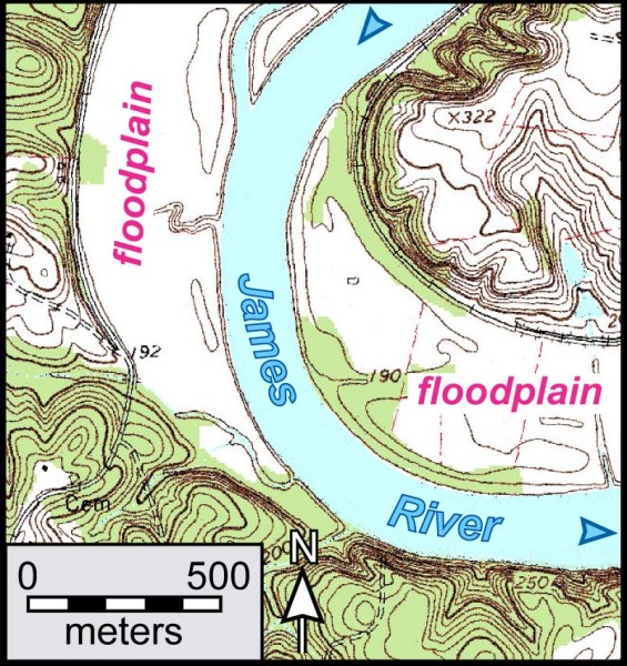 The James River and its floodplain near Cartersville, Virginia. (Contour interval 20').