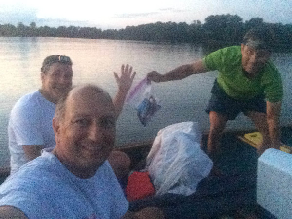 Three dudes in two boats. Twilight selfie in 'camp' off near Dancing Point.