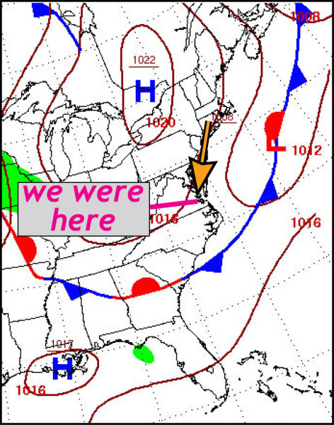 Surface weather map for 7 a.m. July, 16th 2015.