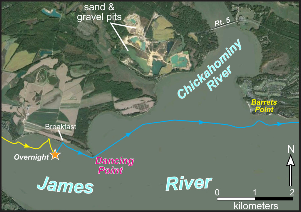 Imagery illustrating our overnight 'camping' spot on the James River near Dancing Point and our route across the Chickahominy.