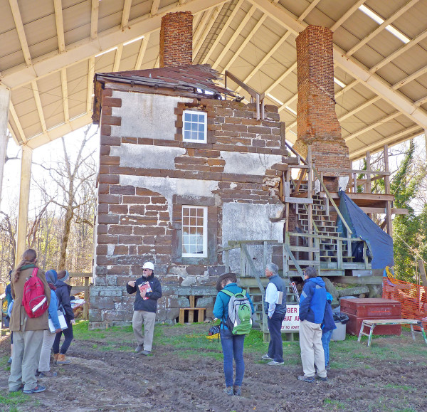 Menokin, and the remains of its northern elevation. Preservation architect John Fidler (with the white hard hat) discusses the Menokin ruins and restoration project.