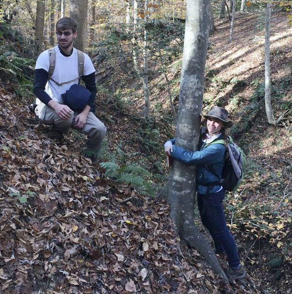 W&M geologists Alexander Greene and Katie Valery on the steep slopes near Menokin.