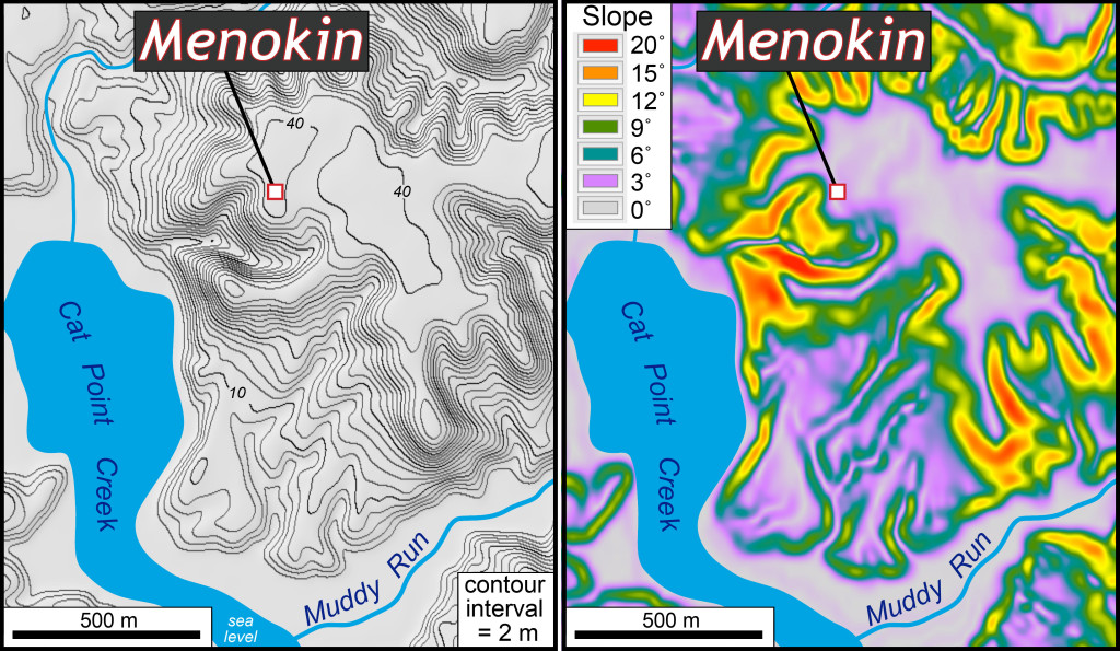 Left: Topographic map of the Menokin area. Note the flat upland at ~40 m (130'). Right: Slope map of the Menokin area. The gray-purple areas are flat terrain, while the orange-red areas are steep slopes.