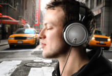 Stock image of person wearing headphones