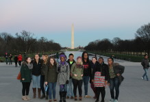 DC students pose in front of the Washington memorial