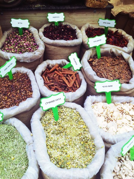 Spices in Jerusalem's shuk.