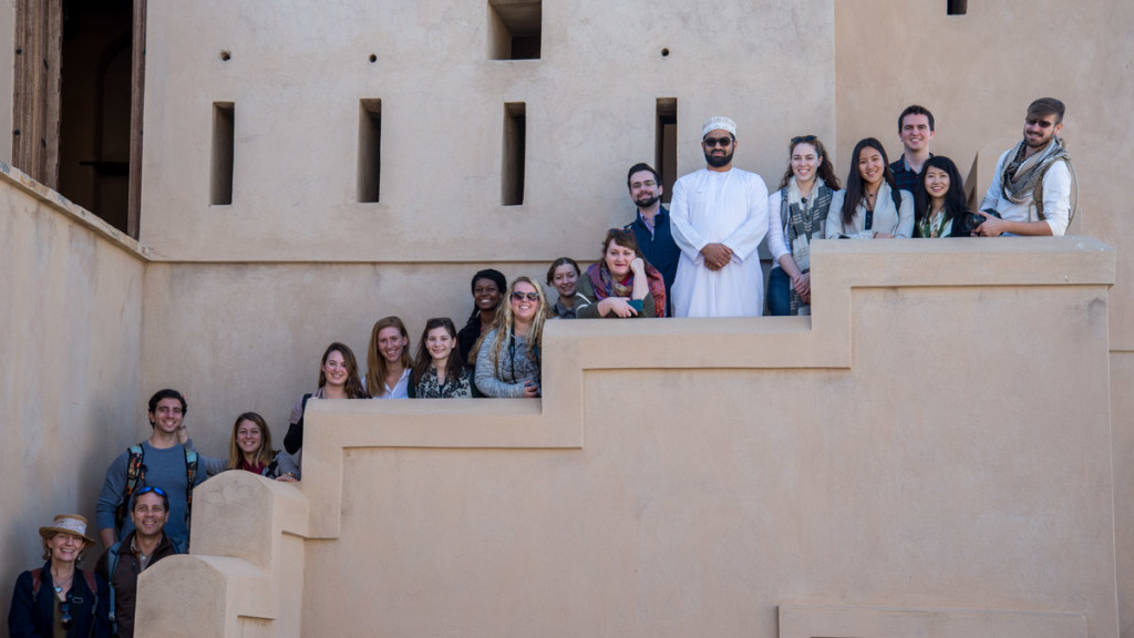 The W&M Oman study abroad program 2016 on the steps at Ibri Fort.  Sultan al Farsi (in the white dishdasha) was our host (photo by Pablo Yañez).