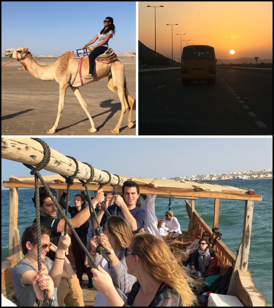 Top Left: Kira McFadden takes a camel ride. Top Right: Following the magic school bus into the setting sun near Ibri. Bottom: Rolling with the waves in a dhow off the coast at Sur.