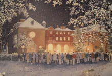 A painting of the wren building in the snow