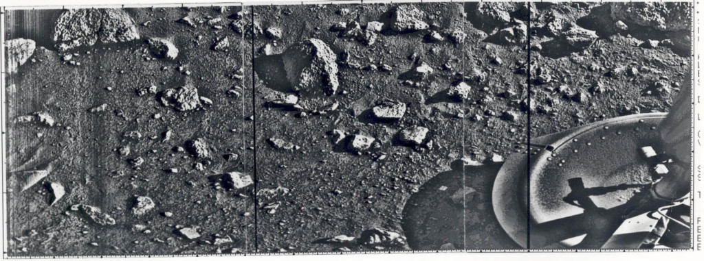 First full image from the Viking 1 lander (July 20, 1976). From http://www.nasa.gov/images/content/188953main_First_Mars_full.jpg