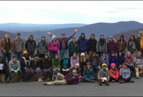 The 2016 William & Mary Earth Structure & Dynamics class at Loft Mountain Overlook in Shenandoah National Park after a cold night in the Blue Ridge Mountains.
