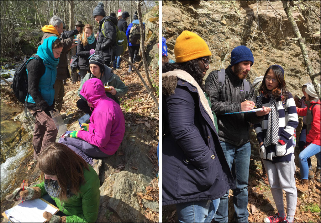 Bundled up against the weather, William & Mary geologists working it out at the Garth Run high-strain zone.