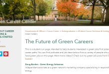 Future of green careers webpage on the wm website