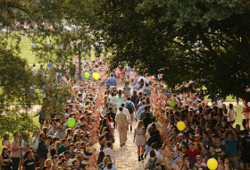 Celebratory view of a line of new students passing through the crowd of smiling campus members giving high fives