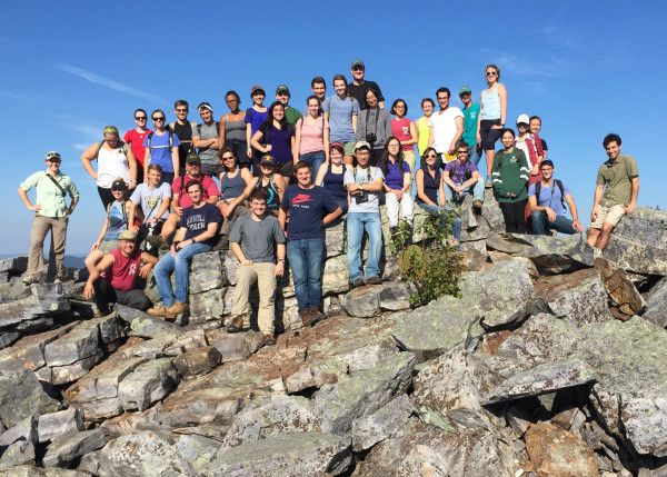 William & Mary geologists enjoying the afternoon sunshine at Blackrock Summit in the Blue Ridge Mountains, north-central Virginia.
